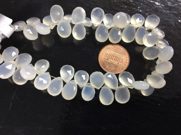 White Chalcedony Pears Faceted