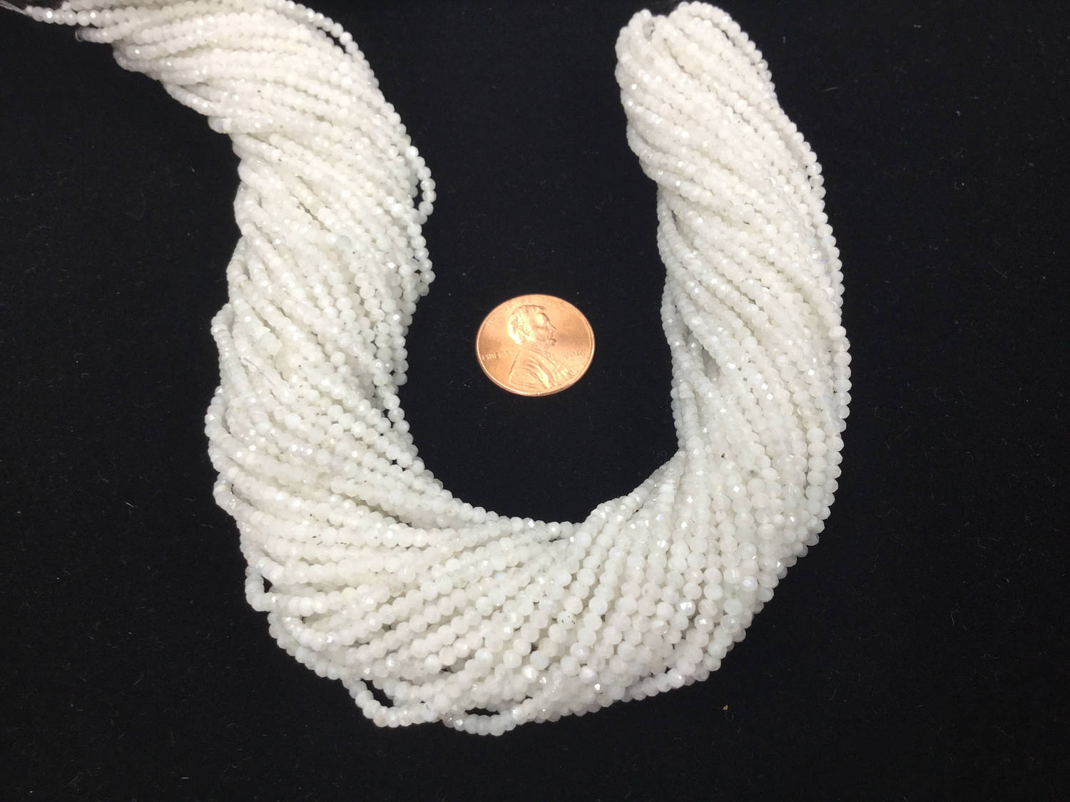 White Moonstone Rondelles Faceted