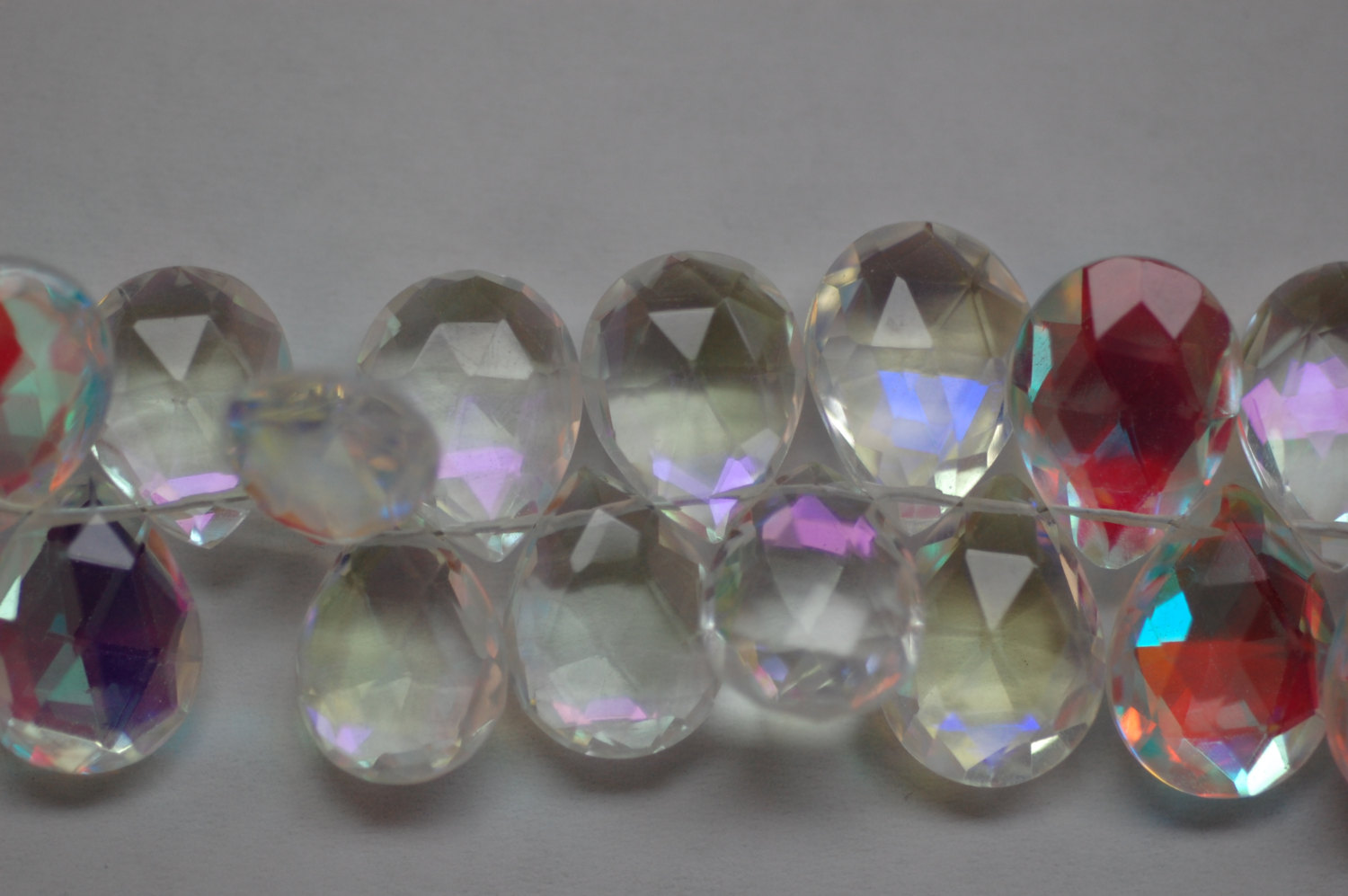 White Mystic Quartz Pears Faceted