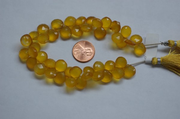 Yellow Chalcedony Hearts Faceted