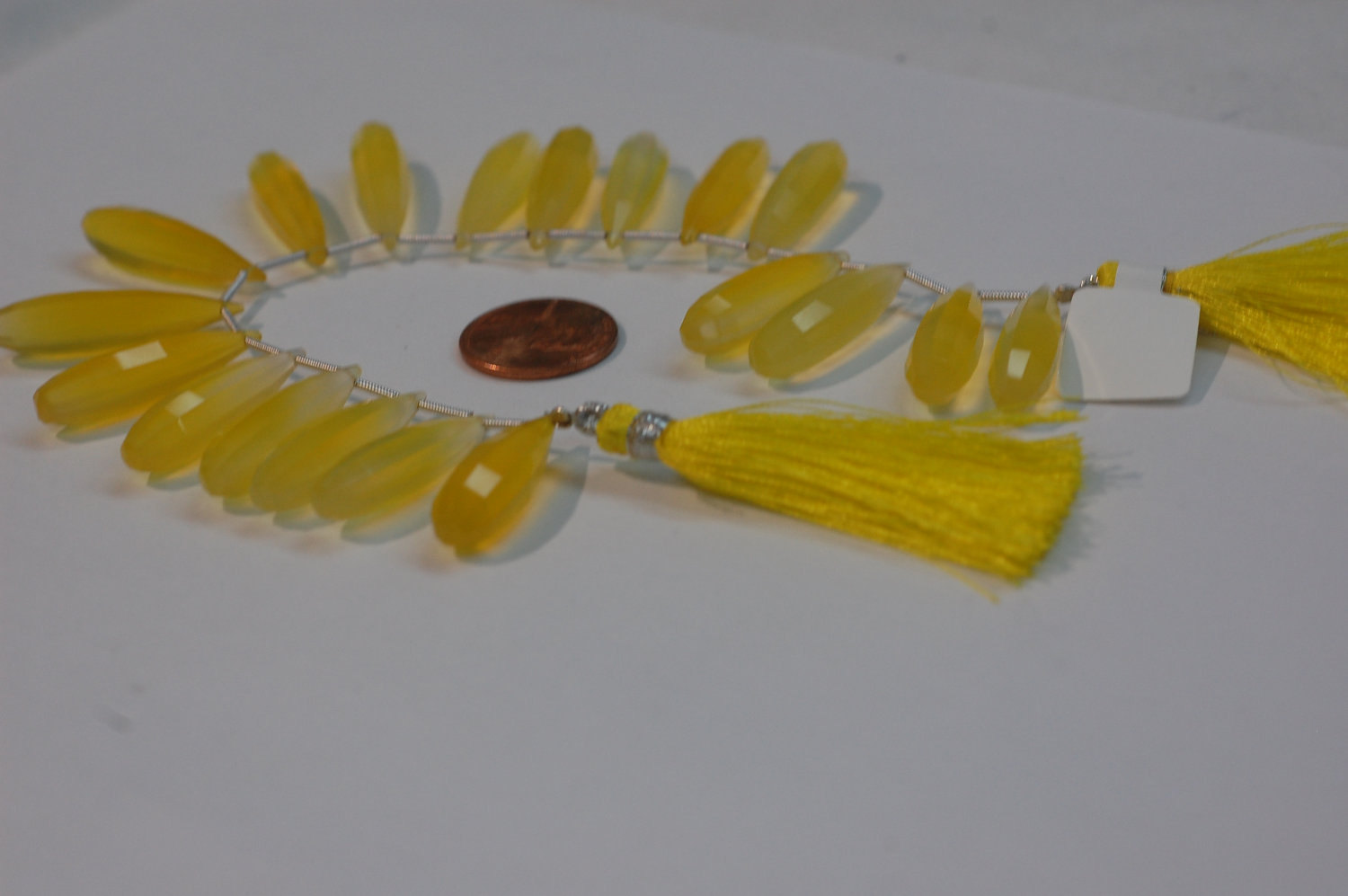 Yellow Chalcedony Long Drops Faceted