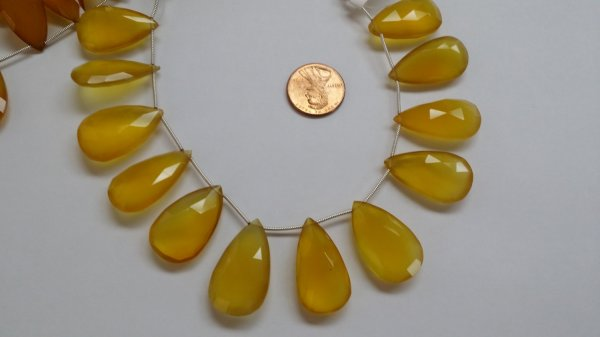 Yellow Chalcedony Pears Faceted