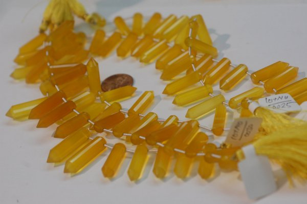 Yellow Chalcedony Pencil Cut Faceted